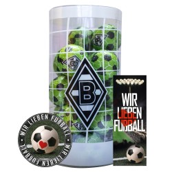 Borussia Mönchengladbach Schokokugeln, Schokofussbälle, Schokoladen Kugeln BMG Plus je 1 x gratis Aufkleber &  Lesezeichen