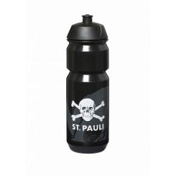 FC St. Pauli  Trinkflasche, Flasche Sport, Fahrrad schwarz 0,75 l  - Plus Aufkleber Fans gegen Rechts