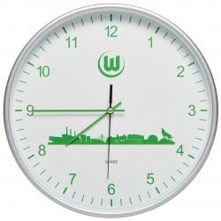 VfL Wolfsburg Modische Wanduhr, Uhr, Wall Clock Skyline, Ø ca 29 cm  - plus Lesezeichen Wir lieben Fußball