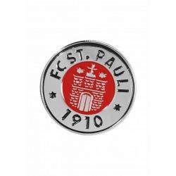 FC St. Pauli Pin Logo weiß, Button, Anstecker  - plus Aufkleber Fans gegen Rechts