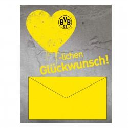 Borussia Dortmund Geldscheinkarte, Glückwunschkarte, Geburtstagskarte plus Lesezeichen I love Dortmund