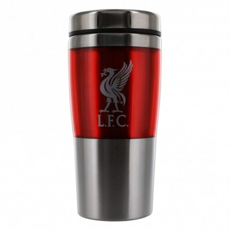 FC Liverpool Thermobecher Metal Kaffee Becher,Tasse - Mug, Coffee to go LFC plus Aufkleber Wir lieben Fußball