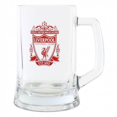 FC Liverpool  Bierseidel Crest Tankard Glas, Bierglas, Bierhumpen, Bierkrug  LFC plus Aufkleber Wir lieben Fußball