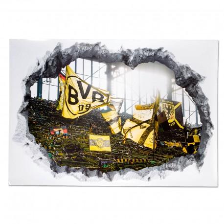 Borussia Dortmund 3D Wandtattoo Stadion, Dekor BVB - plus Lesezeichen I love Dortmund