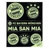 FC Bayern München Aufkleberbogen nachtleuchtend 7er Set, Aufkleber, Sticker FCB - plus Lesezeichen I love München