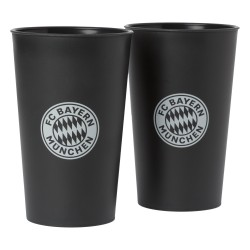 FC Bayern München Becher schwarz 2er, Trinkbecher, Glas, Trinkglas FCB - plus Lesezeichen I love München