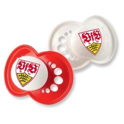 VfB Stuttgart Schnuller 6-16 Monate Silikon 2er Set - plus Lesezeichen Wir lieben Fußball