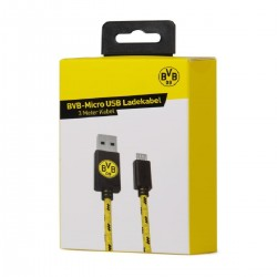 Borussia Dortmund Micro USB Ladekabel, USB-Kabel 3 m BVB 09 - plus Lesezeichen I love Dortmund