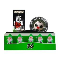 Hannover 96 Schoko Mini Weihnachtsmann H96 (5 Stk.) Plus gratis Fussball-Scholadenmischung (150g)