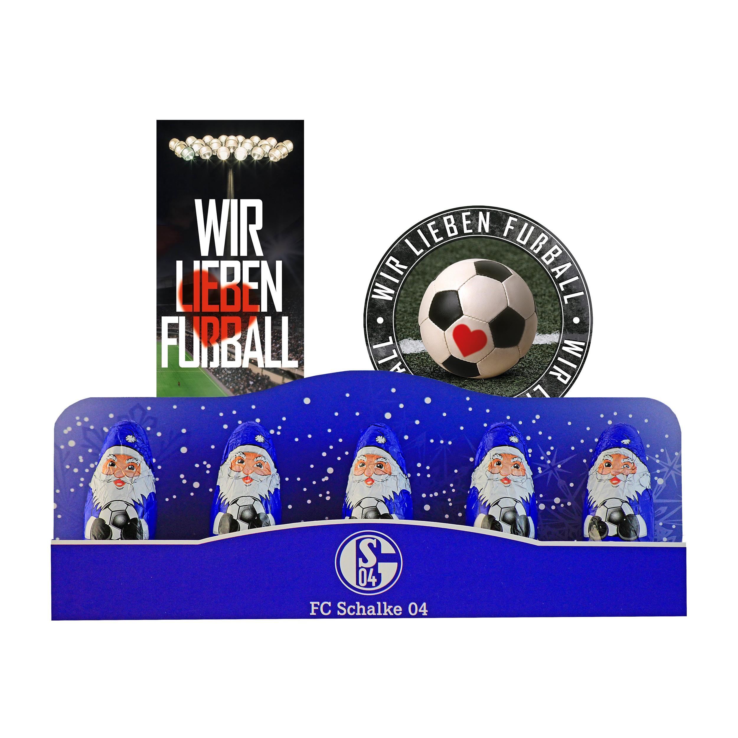 1 x Lesezeichen Wir lieben Fu/ßball Plus gratis je 1 x Aufkleber 5 STK. FC Schalke 04 Schoko Mini Weihnachtsmann S04