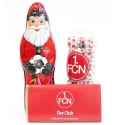 1. FC Nürnberg Schokoladen Weihnachtspaket Weihnachtsmann Schokokugeln Schokotafel FCN - plus Lesezeichen Wir lieben Fußball
