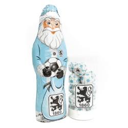 TSV 1860 München Schokoladen Weihnachtspaket Weihnachtsmann Schokokugeln, Schoko-Fanpaket - plus Lesezeichen Wir lieben Fußball