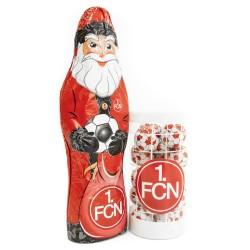 1. FC Nürnberg Schokoladen Weihnachtspaket Weihnachtsmann Schokokugeln, Fanpaket FCN - plus Lesezeichen Wir lieben Fußball