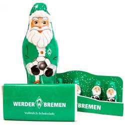 SV Werder Bremen Schoko Weihnachtspaket Weihnachtsmann 5er Set Nikolaus Schokotafel- plus Lesezeichen I love Bremen