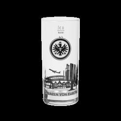 Eintracht Frankfurt Longdrinkglas Skyline, Wasserglas, Glas 2er-Set 0,3 l SGE - plus Lesezeichen I love Frankfurt