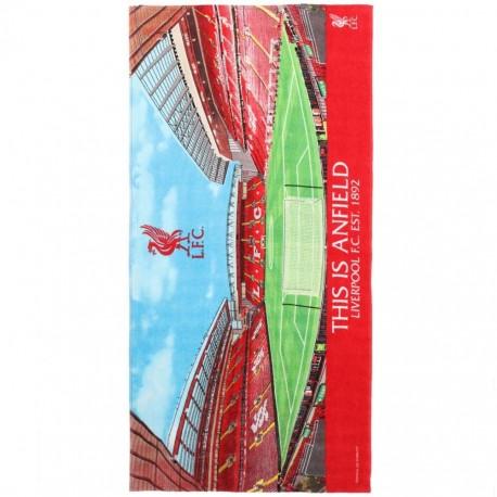 Liverpool FC Strandtuch Anfield, Badetuch, Duschtuch LFC - plus Lesezeichen Wir lieben Fußball