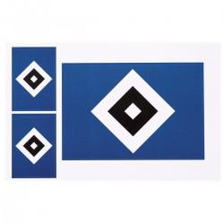 Hamburger SV Aufkleberkarte Raute, Aufkleber 3er Set, Sticker HSV - plus Lesezeichen I love Hamburg